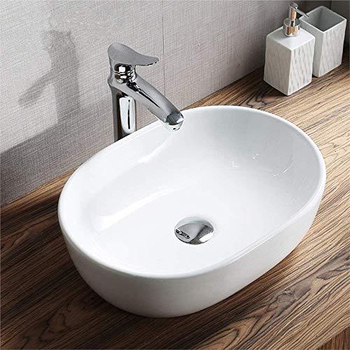 HomeLava Waschbecken Aufsatzwaschbecken Keramik Waschbecken 490 x 350 x 140mm
