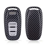 TOMALL Carbon Fiber Pattern Luxury Car Key Protective Cover Keychain Compatible for Audi Smart 2009-2015 A4 2008-2016 A5 2012-2018 A6 Key Fob Cover