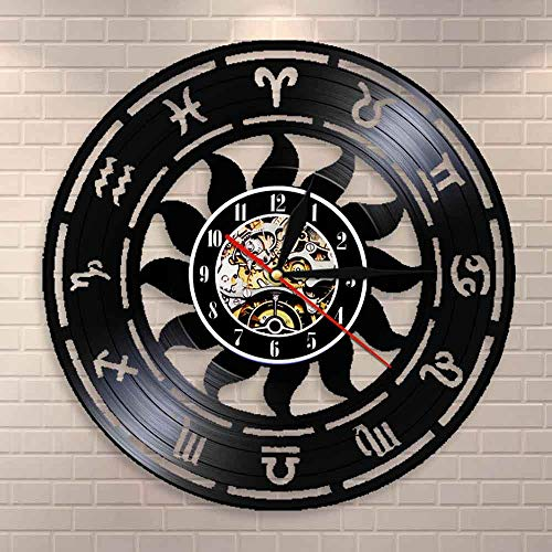 Reloj de pared con diseño de astronomía y hora del zodiaco para decoración del hogar de la astrología y el disco de vinilo del zodiaco reloj de pared para astrónomos regalo