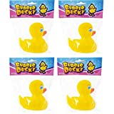 The Dreidel Company Yellow Rubber Duck Toy Duckies for Kids, Bath Birthday Gifts Baby Showers Classroom Incentives, Summer Beach and Pool Activity, 3' (4-Pack)