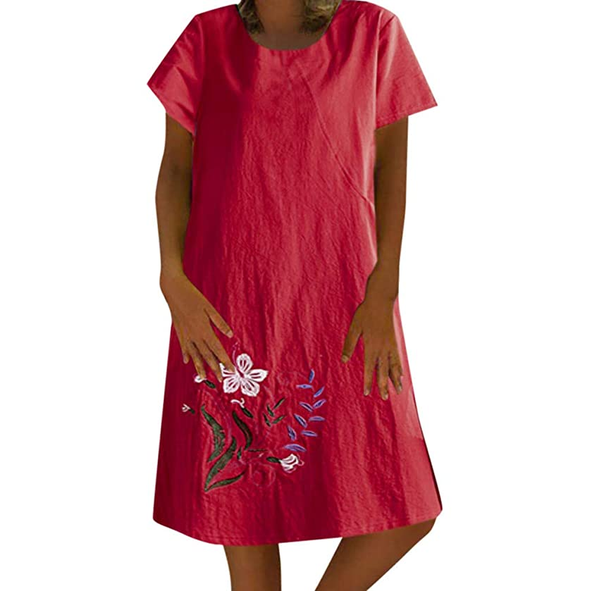 Short Sleeve Dresses for Women Plus Size Retro Casual V Neck Embroidery Cotton Linen Loose Dress
