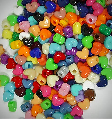 Lot of 100 Multi Color Hearts Shaped Pony Jewelry Making Beads Horizontal Hole Crafts Kandi Jewelry - DIY for Handmade Bracelet Necklace Craft Supplies