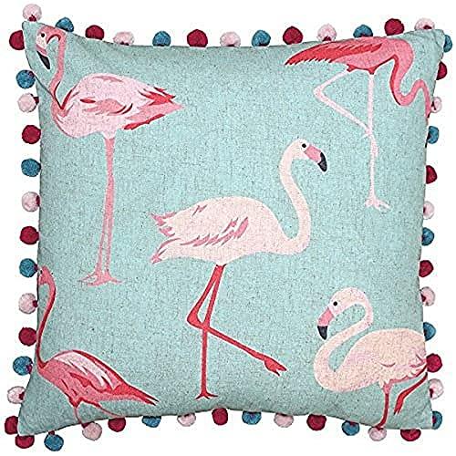 Paoletti Riva Flamingo-Funda de cojín, diseño de Flamenco, Color Azul y Rosa Pastel, 50 x 50 cm