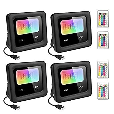 4 Pack 15W RGB LED Flood Light with Remote Controller 16 Colors 4 Modes Dimmable Color Changing DIY Floodlight IP66 Waterproof with US 3-Plug Indoor Outdoor Garden Stage Light for Christmas