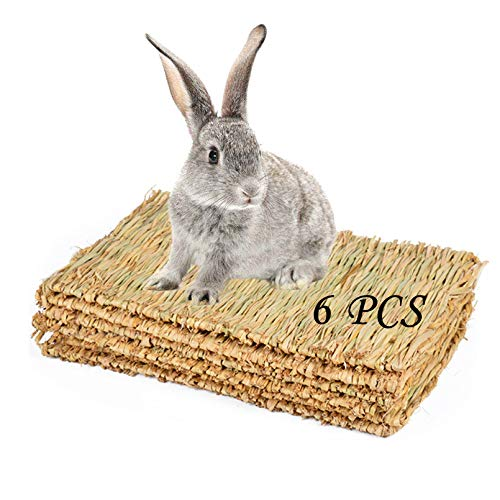 PINVNBY 6 Pack Rabbit Grass Mat, Bunny Natural Straw Woven Bed, Small Animal Cages Hay Nest...
