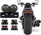 Fanale Posteriore per Moto 40-LED 40W Lampada da Corsa Impermeabile Integrata Freno e Indicatore di Direzione con Supporto Targa per Harly Moto Street Bike Cruiser Chopper (Nero)