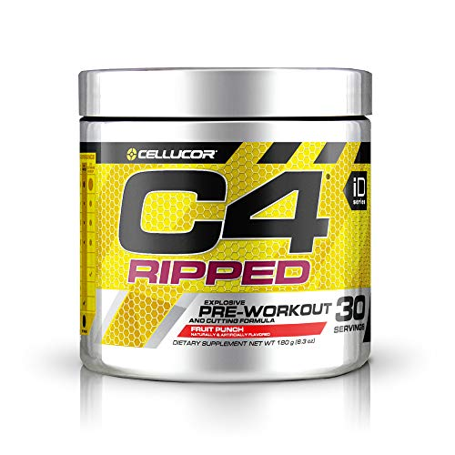 C4 Ripped Pre Workout Powder Fruit Punch - Creatine Free + Sugar Free Preworkout Energy Supplement for Men & Women - 150mg Caffeine + Beta Alanine - 30 Servings