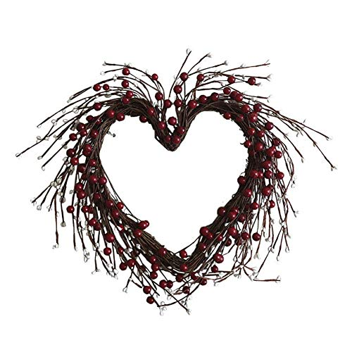 Terynbat Heart-shaped rattan wreath, artificial cutting-edge big heart-shaped wreath rattan wreath Valentine's Day wall hanging wedding decoration 40 cm