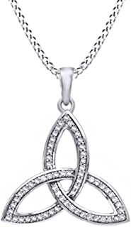 AFFY White Natural Diamond Celtic Trinity Knot Pendant Necklace in 10k Solid Gold (0.25 cttw)