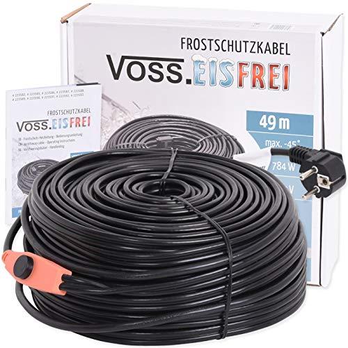 49m Frostschutz Heizkabel mit Knopf-Thermostat VOSS.eisfrei, 230V, Heizleitung Zum Schutz von Wasserleitungen und Weidetränken
