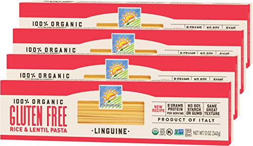 Bionaturae Linguine Gluten-Free Pasta | Rice and Lentil Linguine Pasta | Non-GMO | Lower Carb | Kosher | USDA Certified Organic | Made in Italy | 12 oz (4 Pack)