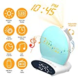 Decdeal Multifunctional 4 in 1 FM Radio Wake-Up Light Alarm Clock T-IME Projector Desk Lamp 2 * AAA Cell Powered Operated Memory Function L-ED Display Press C-ontrol 20 Colors Changing/Static Mode 2