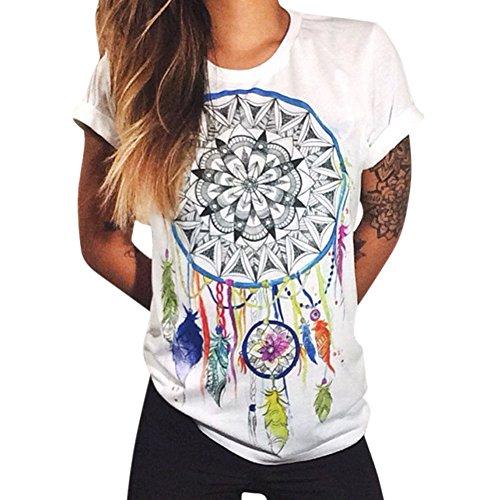 LAEMILIA Damen T-Shirt Bluse Weiß Boyfriend Stil mit Modern Druck Shirt Streetwear Tops Hemd