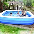 Inflatable Swimming Pool- Three Sizes Family Inflatable Swimming Pool, Inflatable Lounge Pool for Baby, Kiddie, Kids, Adult, Outdoor, Garden, Backyard, Summer Water Party (blueA)