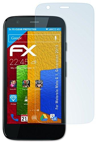 atFolix Schutzfolie kompatibel mit Motorola Moto G 1. Generation 2013 Folie, ultraklare FX Bildschirmschutzfolie (3X)