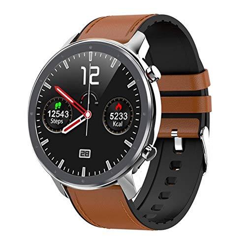 NUNGBE Smartwatch, Herren-Vollkreis-Touchscreen-EKG-Herzfrequenz-Wetteranzeige, IP68-Damen-Smartwatch, geeignet für Android IOS Smart Sports Watch-Silver_Brown