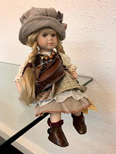 Faelens Porzellan-Puppe mit Tasche und Hut, 30 cm, Sitzpuppe