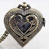 KaiKai WatchHeart Bolsillo en Forma de Regalos Reloj de Bolsillo de la Vendimia de Plata Negro Collar Colgante de Metal Movimiento de Cuarzo Hombres de Las Mujeres del Reloj (Color : Hollow Bronze)