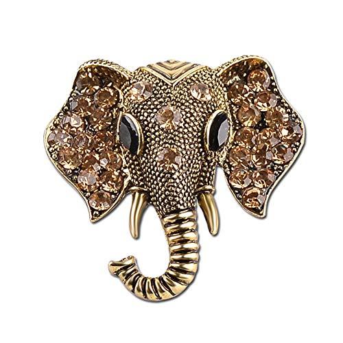 AILUOR Damen Retro Elefant-Brosche, Art Und Weise Kristallrhinestone Tier Elephant Head Ehrennadel Anzug Corsage Accessoires Schmuck Bronze Einstellbar