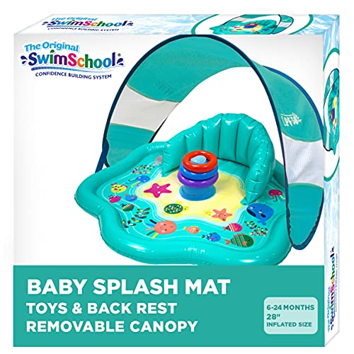 SwimSchool Splash Play Mat, Inflatable Kiddie Pool with Backrest and Canopy for Babies & Toddlers, Includes Three Toys, Multicolor (SSI11261)