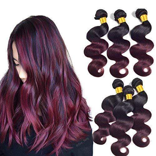 Black To Burgundy Human Hair 3 Bundles Body Wave Ombre Human Hair Bundles 100G/Pcs Two Tone 1B/99J Human Hair Extensions Double Weft Dark Roots Brazilian Virgin Human Hair Weave(12 14 16Inch)