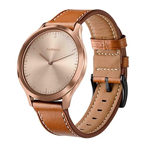 Correa Reloj Compatible para Correa Garmin Vivomove HR/Vivoactive 3, Hombre Mujer 20mm Classic Cuero Genuino Vintage Suave y Lisa Correa de Reloj,Brown,20mm