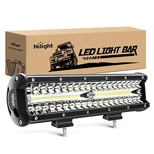 Nilight 18023C-A 12Inch 12 Inch 300W Triple Row Flood Spot Combo 30000LM Bar Driving Boat Led Off Road Lights for Trucks,2 Years Warranty , White , 1PC 12Inch 300W Lights