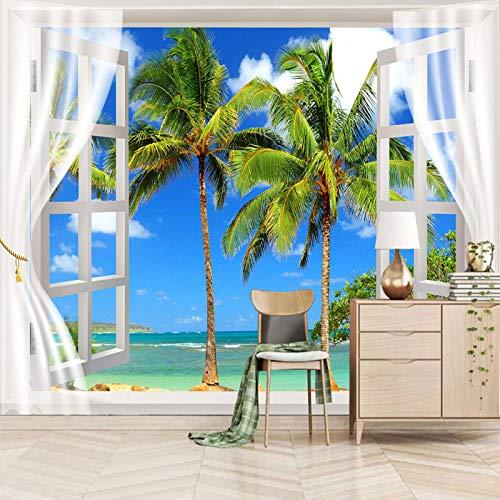 ZEISIX papel pintado habitacion foto en pared empapelar armario/Azul cielo plantas playa/Aplicar para salones niños niñas juvenil habitacion bebe guardería dormitorio matrimonio cabeceros de cama