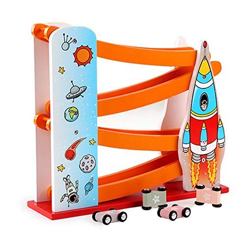Arkmiido Kugelbahn Autorennbahn Holz mit 4 Fahrzeuge, Auto Rennbahn Holz Spielzeug, Auto Kinderspielzeug Geburtstaggeschenke ab 1 Jahr Jungen und Mädchen
