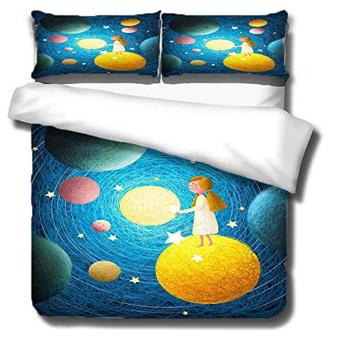 Duvet Cover Set 3 Piece,3D printing Duvet Set Bedding Set for 135 * 200cm Single Bed with 2 Pillowcases.Adult and child's style: Girl's dream