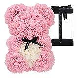 orso rosa fatto a mano orsacchiotto fiore orso rosa orsacchiotto - regalo per la festa della mamma, regalo per lei, regali di amici, regali per le donne, 10 pollici (light pink)