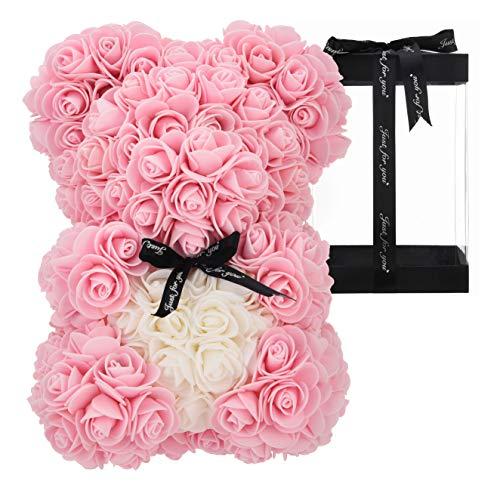 Oso de peluche hecho a mano, oso de rosa, rosa, regalo para ella, amigos, regalos para mujeres, caja de regalo transparente de 25,4 cm (rosa claro)