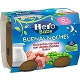 Hero Baby Buenas Noches Guisantes Tiernos con Jamón Cocido Tarrito de Puré para bebés a partir de 6 meses, 2 x 190 g