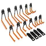 Synlyn 12 ganchos de pared ganchos de garaje ganchos de herramientas dobles para trabajo pesado con correa de almacenamiento portaherramientas de hierro para herramientas eléctricas voluminosas