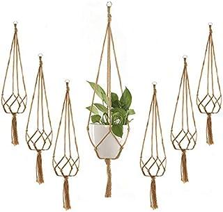 Plant Hanger, 6Pcs Flower Pot Hanging Basket Net Bag Macrame Plant Holder Hemp Rope Plant Support Flower Pot Holder for Indoor Outdoor Garden Home Decor