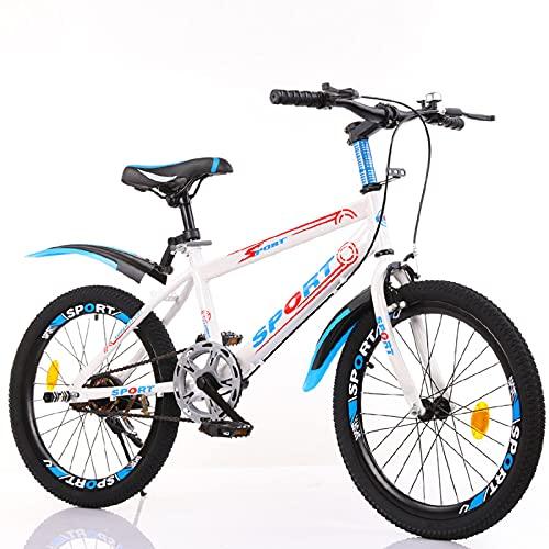 DWXN Bicicleta de montaña 24 Pulgadas Rueda niños Soltero Velocidad Antideslizante Gruesa Llantas Grueso neumático de Grasa Acero de Alto Carbono Marco Azul Blanco Color