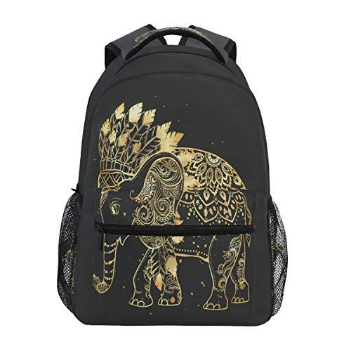 HaJie Backpack Indian Tribal Mandala Flower Elephant Travel Daypack Large Capacity Rucksack Casual School Book Bag Shoulder Straps Computer Laptop Bag for Womens Mens Teenage Girls Boys
