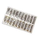 ZRNG 1 Box Set Suivre Outils de réparation Kits Montre Vis Bracelet Assortiment Tube Friction Pin fermoirs Sangles Bracelets Rivet Ends de 10 mm 28 mm (Color : Silver)