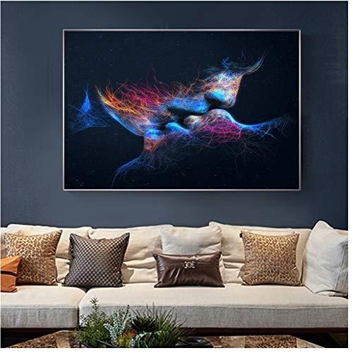 A&D Modern decoratief schilderij blauwe kleur kus afbeeldingen gedrukt op canvas wand abstracte kunst decoratie canvasdruk -60x90cmx1pcs- geen lijst