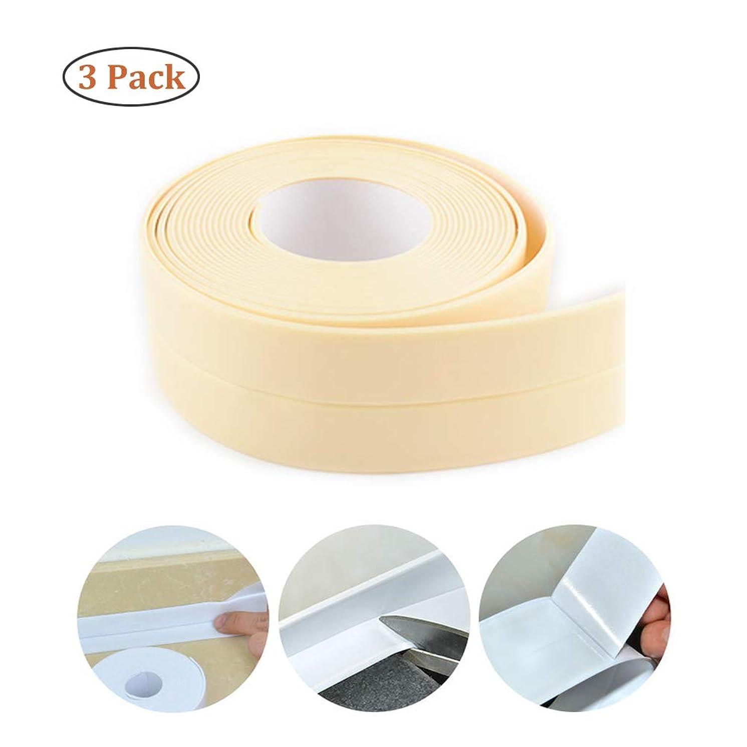 Caulk Strip PE Self Adhesive Tape Waterproof for Kitchen, Bathtub, Toilet, Bathroom, Shower, Sink Sealing 3 Pack (Beige)