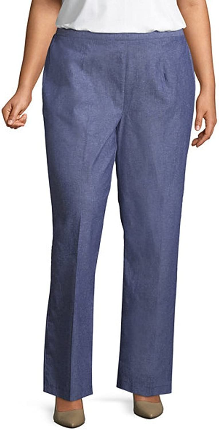 Alfred Dunner Women's bluees Traveler Solid Pants  Short Length