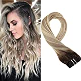 Moresoo 18 Pollice Extension Capelli Veri Clip #3 Marrone Fading to #12 Marrone Dorato Chi...