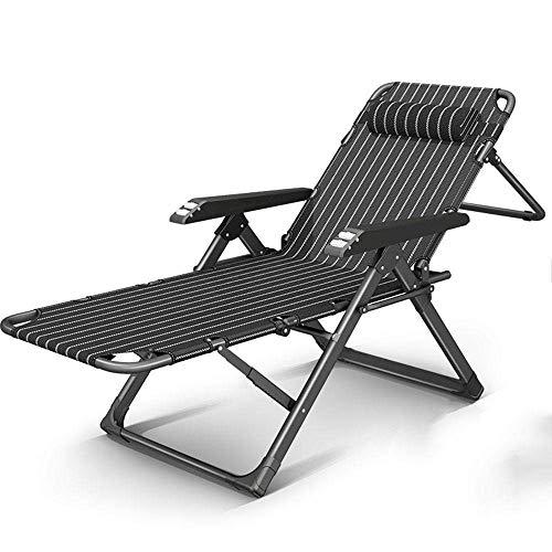 Reclinable Plegable Silla de jardín portátil Ministerio del Interior del Respaldo Siesta sillón Cama Portable de la Silla de Playa (Color : Straight Black Strip 02)