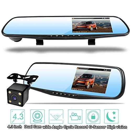 Homelink 1080P Double Caméras de Voiture Avant et Arrière & Enregistreur 170° Grand Angle + Retroviseur Anti-Eblouissement + Dansh Caméra avec L'écran 4.3\