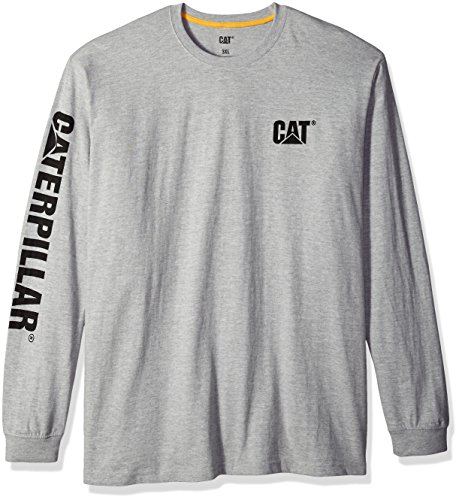 Caterpillar Men's Trademark Banner Long Sleeve T-Shirt (Regular and Big & Tall Sizes), Heather Grey, Large