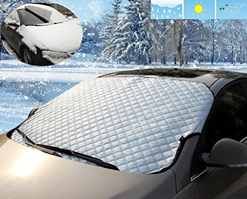Mini-Factory Car Windshield Snow Cover Protector Shield Guard - Side Flaps - Extra Thick - Sun, Snow, Ice, Frost - Windproof - All-Weather