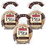 Toufayan Bakery, Whole Wheat Pita Bread for Sandwiches, Meats, Salads, Cheeses and Snacks, Naturally Vegan, Cholesterol Free and Kosher (12oz Bags, 3 Pack)