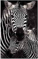 黒と白のゼブラ北欧の動物のキャンバスプリントポスターHdプリント壁アート写真リビングルームの家の装飾-40X60Cmフレームレス