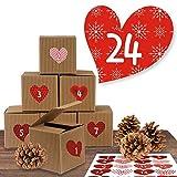 """Adventskalender Set aus 24 rustikalen Boxen und 24 weihnachtlichen Zahlenaufklebern """"Romantischer Advent"""" zum Basteln und Befüllen"""