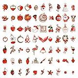 EBANKU 73 Stücke Emaille Charme Anhänger Gemischte Stile Überzogene zum Armband Halskette Ohrring Charms Schmuck Handwerk Bilden DIY Schmuckanhänger Weihnachten Dekoration Schmuck Set